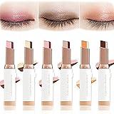 Barra de sombra de ojos de dos tonos, sombra de ojos nacarada degradada de modificación de ojos, barra impermeable de maquillaje degradado con brillo brillante (03#)