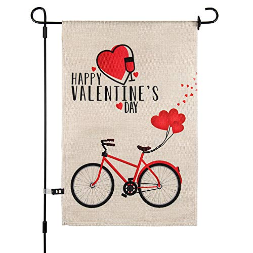 AMXXON Garden Flag Valentines Day 12 x 18 Double Sided Garden Yard Flag Banner, Love Kiss Me...