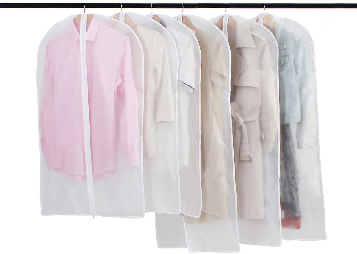 Fundas Ropa Cremallera Bolsas Ropa Transparente Transpirables Para Almacenaje De Traje Vestidos Abrigos Chaquetas Camisas 6pcs Amazon Es Hogar Y Cocina