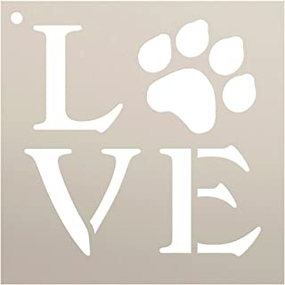 Love Stencil by StudioR12 | Square Paw Print Word Art -Reusable Mylar Template | Painting, Chalk, Mixed Media | Use for Journaling, DIY Home Decor-Animal Lover-Choose Size (6