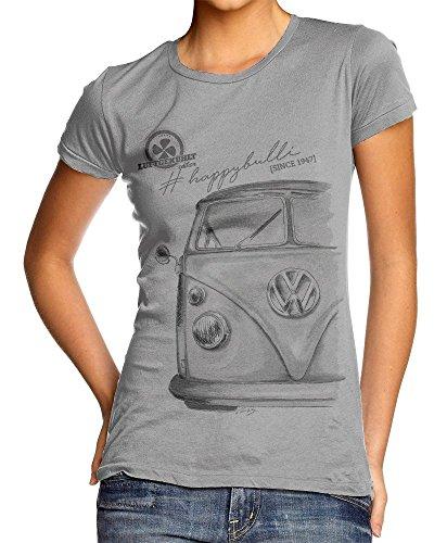 T-Shirt Bulli T1 Oldtimer Vintage Car - Damen - grau - M