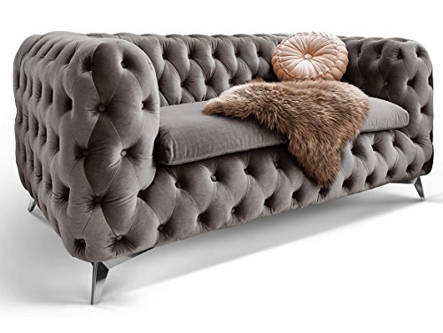 Chesterfield Sofa Couch Stoff Samt 3 Sitzer 2 Sitzer Sessel 1 Sitzer Designer Möbel Emma (2-Sitzer, Silber-Grau)