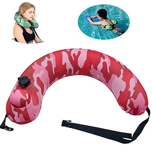 YOMI Schwimmtrainer, tragbarer Schwimmgürtel für Kinder/Erwachsene, aufblasbares Multifunktionskissen, Reise-Nackenkissen, rot