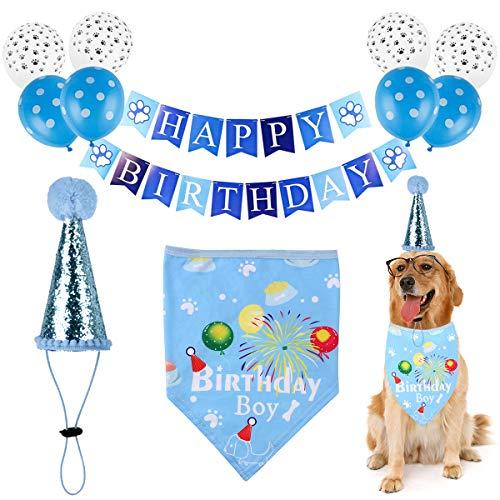 DaMohony Conjunto de Sombrero de Bandana de Cumpleaños de Perro Suministros para Fiestas de Mascotas Conjunto de Globos de Banner de Feliz Cumpleaños