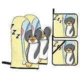 Juego de 4 Manoplas para Horno y Soportes para ollas,pingüino bebé soñoliento con Capucha,Listo para Dormir,Dibujos Animados de sueño Feliz de la Infancia,Guantes para Barbacoa para cocinar
