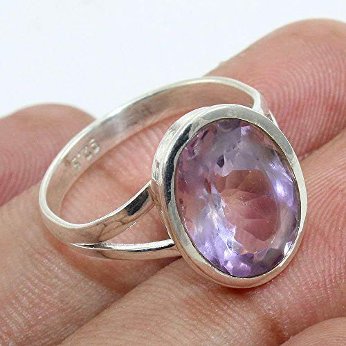Anillos de plata para mujer,Natural Amethyst Handmade 925 Sterling Silver Ring...