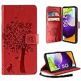 AROYI Funda Compatible con Samsung Galaxy A52 5G/4G, Relieve Dibujo Carcasa Cuero Suave de la PU con Ranuras para Tarjetas Flip Funda Tipo Libro Soporte Plegable Magnético Carcasa Rojo