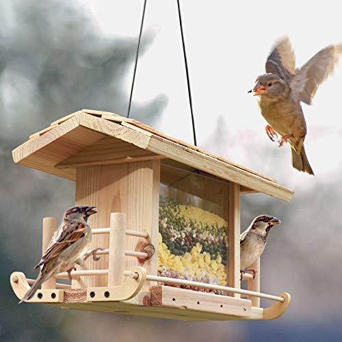 KOSIEJINN Comedero para Pájaros Colgante Comedero para Pájaros De Madera Función a Prueba De Humedad Diseño Transparente Estación De Alimentación para Pájaros Silvestres Durante Todo El Año