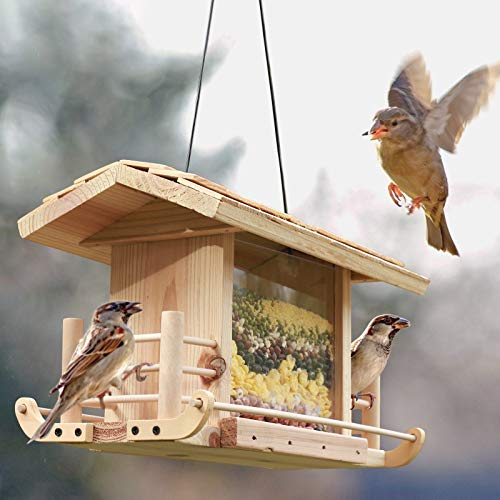 GJCrafts Comedero para pájaros Hecho a Mano de Madera Natural para Aves Silvestres Resistente a la Intemperie, Madera Maciza Casa de Aves Natural para Patio de jardín al Aire Libre