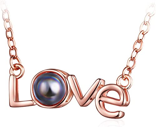wholesale OPTIMISTIC 2021 100 Languages I Love You Necklace Loving Memory Moon Evil Eye Lock Word Love Pendant Necklace Jewelry Gift for Her, Alloy Necklace for online sale Women sale