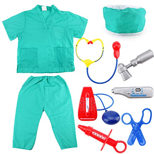 Kids Doctor Costumes,Child's Halloween Doctor Dress Up Surgeon Costume Set and Accessories for Boys and Girls