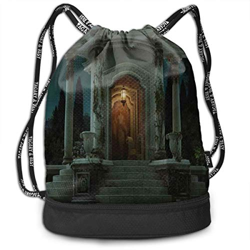 DPASIi Drawstring Backpacks Daypack Bags,Roman Pavilion Lantern Ivy On Pillars Under Dome Medieval Architecture Mystic Theme,Adjustable String Closure