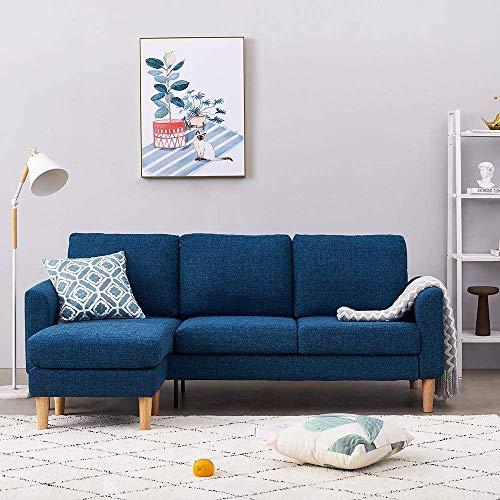 AYAYA Sofás De Tela De Lino De 3 Plazas con Reposapiés Sofá En Forma De L Sofá Chaise Longue Izquierdo O Derecho para Sala De Estar Azul,Blue-3 Seater with Footstool