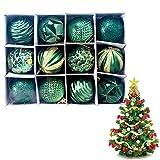 Snner 12pcs de la Bola de Navidad Adornos de Navidad decoración del árbol inastillable Espumoso Bola Colgante de Mercurio Bolas Vintage para decoración de Navidad (Verde)