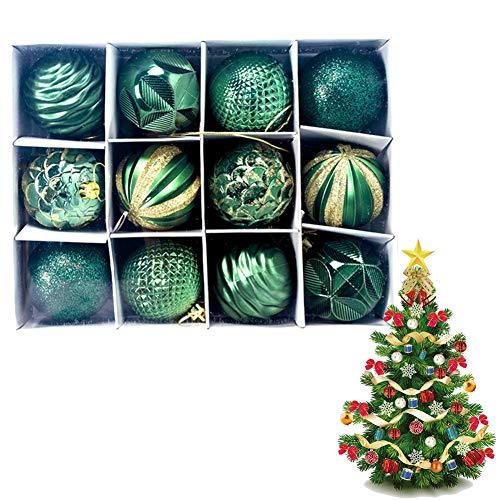 12pcs Christmas Ball Ornamenti di Natale Hanging Tree Decoration Infrangibile Sparkling Palla Appesa Vintage Mercury Palle per La Decorazione Domestica del Partito (Verde)