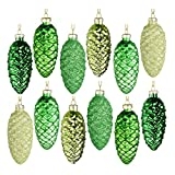 EssenceLiving Glass Christmas Decorations- Set of 12 Hanging Pine Cone Painted Glass Ornaments for Christmas Tree Decor (Colour Scheme 3)