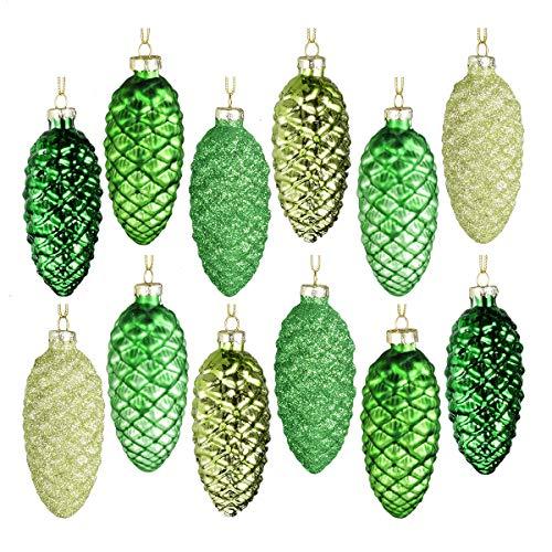 Ornamenti fatti a mano Ornamenti cono di pino Set di 12 pendenti a forma di pigna dipinta in vetro che appendono palline di Natale per decorazioni per alberi di Natale e articoli per feste (verde)