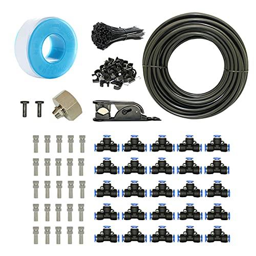 FLAMEER Kit de Sistema de nebulización de Boquilla de 75 pies para Piscina al Aire Libre, refrigeración, jardín, riego de Invernadero, Reptil, prevención de