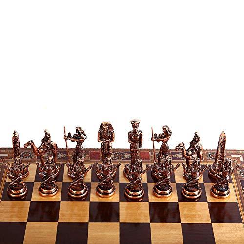 GiftHome (Solo piezas de ajedrez) Antiguo Egipto El Faraón Figuras de cobre antiguas hechas a mano piezas de ajedrez de metal King 3.5 inc (tablero no incluido)