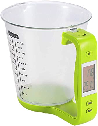 OUNONA Digital Measuring Cup Scale Electronic LCD Display Kitchen Measuring Cup 1000g/1g (Light Green)
