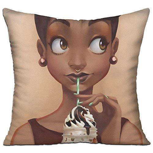 Yearinspace Afrykańska amerykańska dziewczyna miłość lody, poszewki na poduszki dekoracyjne poszewki na poduszki z zamkiem błyskawicznym