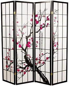 Fine Asianliving Japanese Room Divider L180cmxH130cm Shoji Rice Paper Natural 4 Panel Wooden Dividers Shoji Screens Paravent Partition Wall Folding Screen Separator Oriental