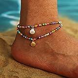 Sethexy Boho Vieira Pulseras para el tobillo Cuentas de colores Cadena de pie Colgante de concha de oro y plata Verano Playa de arena Joyería del pie para mujeres y niñas (2 piezas)