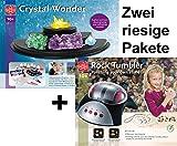 EDU-TOYS Riesiges Experimentierpaket Kristalle züchten + Edelsteinschleifset elektrisches Schleifgerät, Stein und Schleifmaterialien zur Herstellung von Edelsteinen