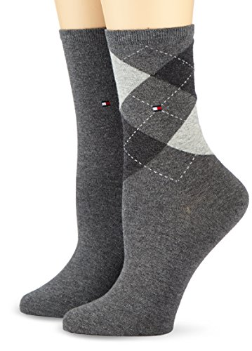 Tommy Hilfiger Damen Socken, 2er Pack, Grau (middle grey melange 758), 39/42