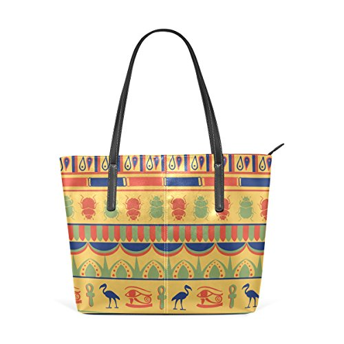 COOSUN Egyptian Ornament PU Leather Shoulder Bag Purse and Handbags Tote Bag for Women