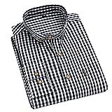LSDJGDDE Camisas de manga larga a cuadros de algodón para hombre, otoño y cómodo, ropa informal para hombre (color negro, tamaño: asiático XXXL etiqueta 43)