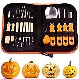 Shechic Kit di Strumenti per intagliare la Zucca di Halloween, 14 Pezzi Set di Intaglio di Zucca, Facile Intaglio Decorazioni di Zucca di Halloween