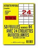 SECRETDRESSING ® - 50 planches de 24 = 1200 étiquettes autocollantes papier adhésif blanc -70 x 37 mm - MON TIMBRE EN LIGNE FBA AMAZON code barre mailing - (DP247) TVA DEDUCTIBLE