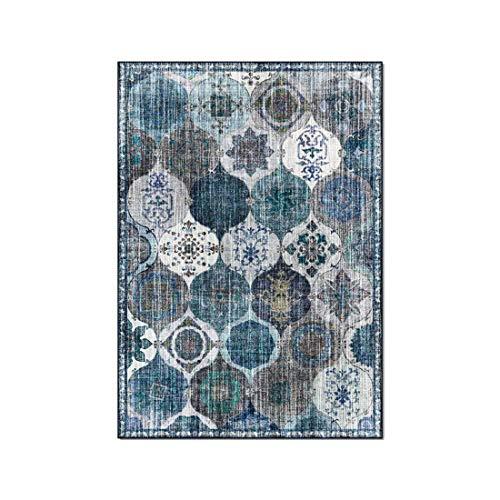 Tappeto in stile etnico retrò, tappetini per camera da letto soggiorno circolare geometrico blugrigio americano, soggiorno, studio, comodino