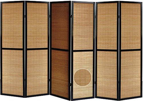 PEGANE Biombo Madera Negro y bambú con Motivos Vegetales 6 Paneles