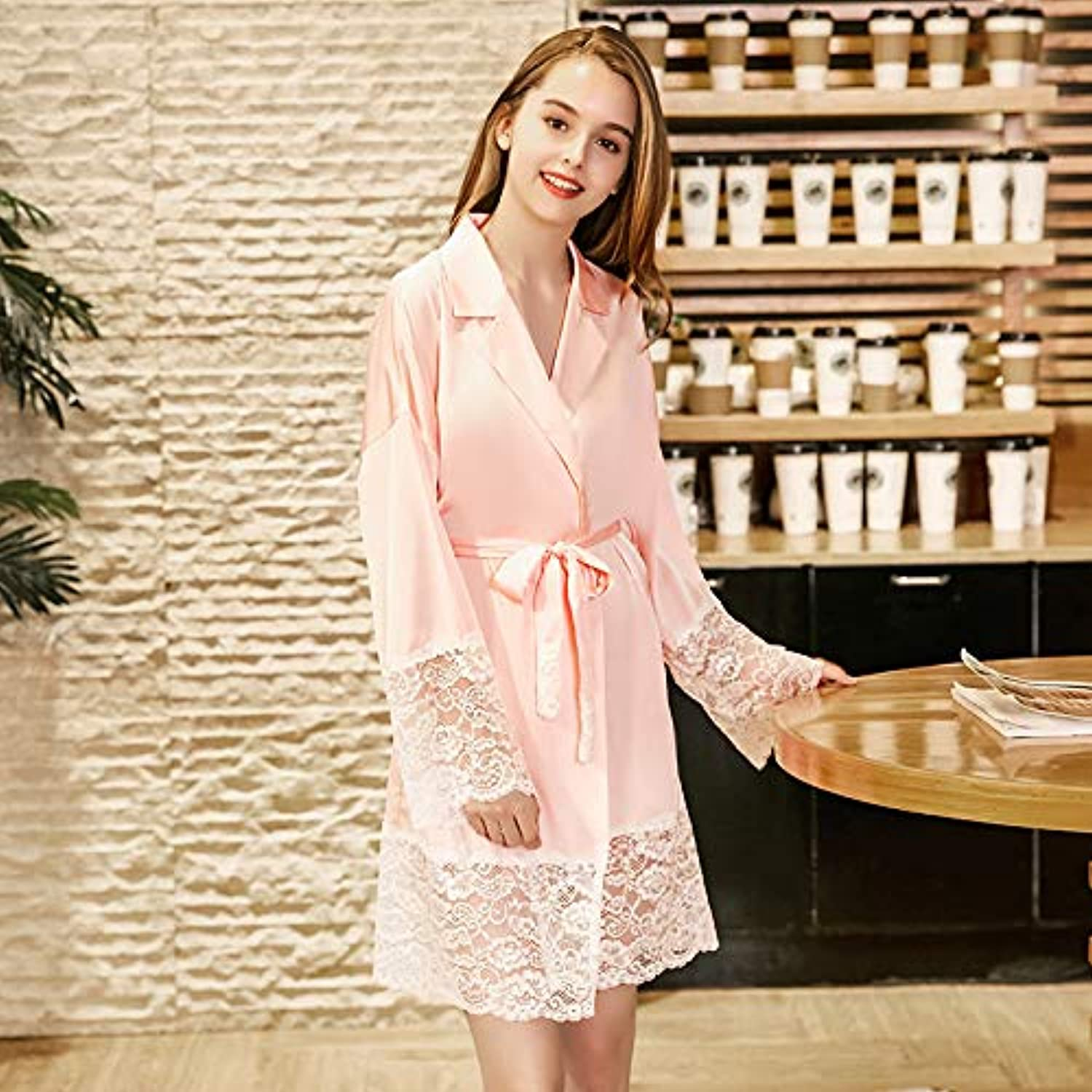 IANXI Home Simulation Silk Nightgown Women's Spring Long Sleeve Silk Homegown (color   Pink, Size   M)