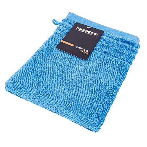 Traumschloss Frottier-Line besonders saugstarker Premium Waschhandschuh | 16 x 21 cm | Nordic blau | 100{c3057edfcec8daf0df0498760838d7984ab73bf3d28405c9ff9b4aa5d68f4a78} amerikanische Supima Baumwolle mit 600g/m² | flauschig weich & angenehm zur Haut