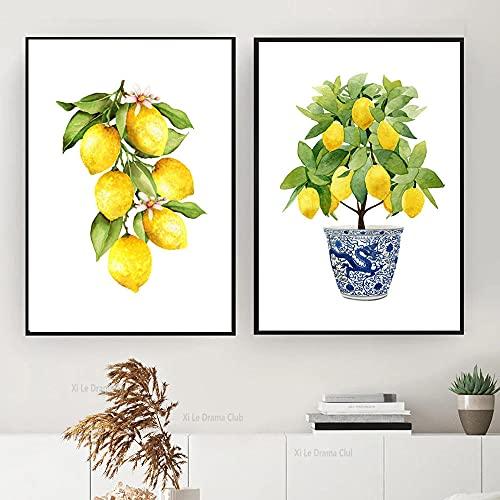 LZASMMVP Impresiones de limón Estilo Chino Maceta Bonsai Pintura de Lienzo Decoración Arte Oriental Azul y Blanco Estilo de Sauce Pintura de limón   40x60cmx2 Sin Marco