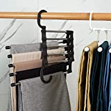 Magic Pants Hangers-Space Saving Multifunctional Closet Hanger 5 Layers Space Saving Pants Rack Wardrobe Organizer Heavy Duty Metal Rack for Clothes Trousers Scarves Jeans Ties 2 Pack by DoreenBeads