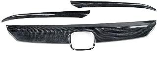 Haute qualit/é Noir luminosit/é Fiber de Carbone Grille d/écoration Compatible avec Civic 10th Grille Garniture Phare sourcil