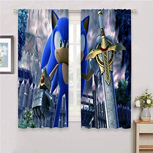 """Zmcongz Stoffvorhang Sonic Vorhänge Kinderzimmer für Fenster Vorhänge Volants Sonic Sonic The Hedgehog Sega Videospiele, Sonic Force W63"""" x L63""""(160cm x 160cm) Farbe_04"""