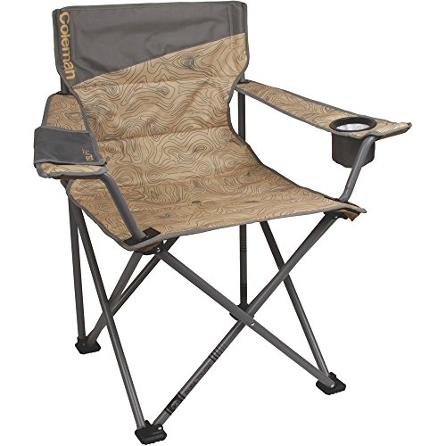Coleman Company Big-N-Tall Topo Print Quad Chair, Tan/Brown