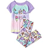 The Children's Place Girls' Graphic Short Sleeve Pajama Pant Set, Lovely Lavender, X-Small (4)