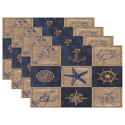 Heat-Resistant Table Placemats Nautical Burlap Washable Fabric Place Mats for Dining Room Kitchen Table Mats 12x18 inch Set of 6