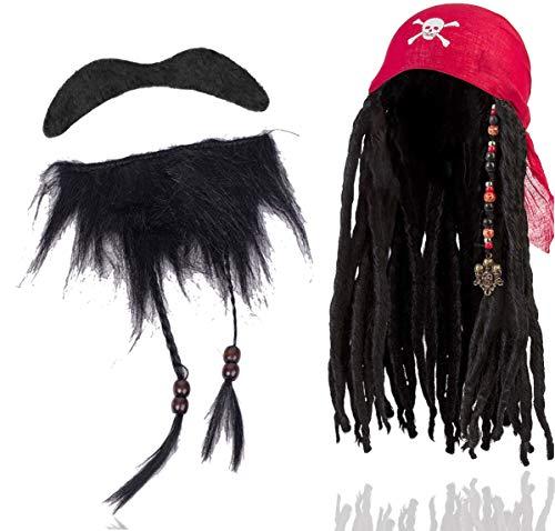 TK Gruppe Timo Klingler 2 in 1 - Pirat Set Seeräuber mit Perücke und Bart selbstklebend als Kostüm für Faching & Karneval. Herren & Damen wie Captain Jack Sparrow