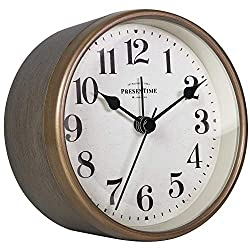 PresenTime & Co 4 Vintage Tabletop Alarm Clock, Silent no Ticking, Rustic Grey Oak and Antique Gold Finish