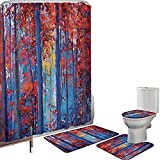 Juego de cortinas baño Accesorios baño alfombras Bosque Alfombrilla baño Alfombra contorno Cubierta del inodoro Pintura al Óleo Ver Otoño Bosque Impresionismo Moderno Obra de Arte,Pimentón Azul Marino