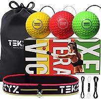 TEKXYZ Reflex Ball Upgraded Set - Comfortable Headband with 3 React Reflex Balls, Great for Reflex, Timing, Accuracy,...