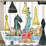 COFEIYISI Neueste Duschvorhänge Duschvorhang Mit Haken Schachweltmeister im New Yorker Aquarellhintergr& Wasserdicht Bad Vorhang Waschbar Bad Vorhang Polyester Stoff mit 12 Haken 180x180 cm