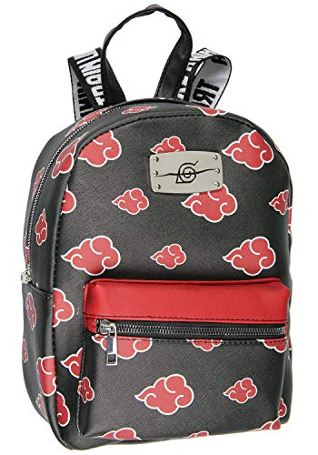 Naruto Akatsuki Sasuke Red Cloud Anti Leaf Faux Saffiano Leather Mini Backpack Bag
